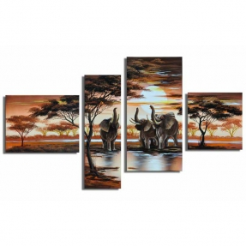 4 Leinwandbilder AFRIKA Elefant (3) 120 x 70cm Handgemalt - 1