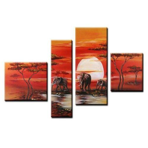 4 Leinwandbilder AFRIKA Elefant (4) 120 x 70cm Handgemalt - 1