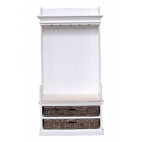 Mahagoni Garderobe mit Sitzbank JOSEPHINE Antikweiß + 2 Rattankörbe 100x190cm - 1