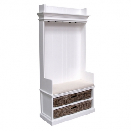 Mahagoni Garderobe mit Sitzbank JOSEPHINE Antikweiß + 2 Rattankörbe 100x190cm - 2