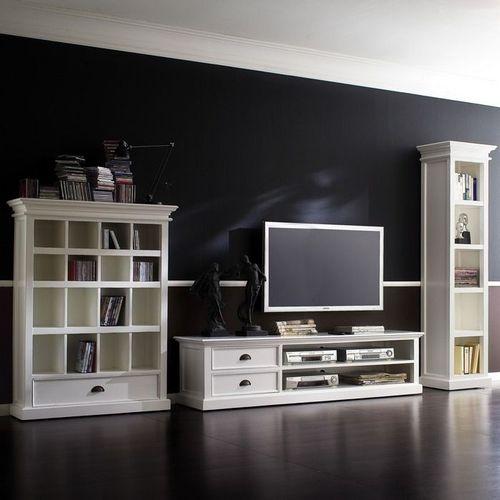 Mahagoni TV-Tisch JOSEPHINE Antikweiß 180 x 45cm - 1
