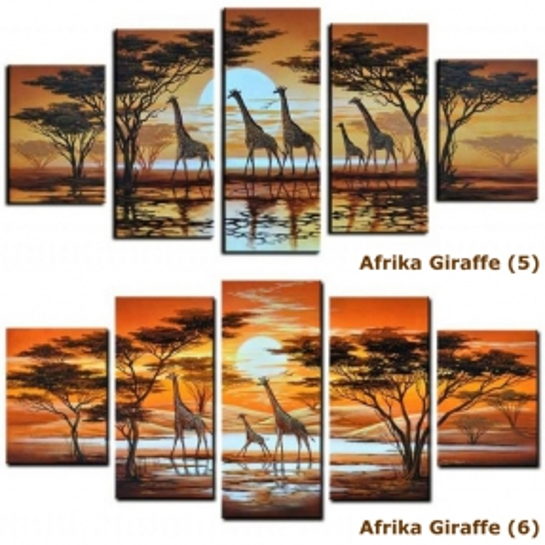 4 Leinwandbilder AFRIKA Giraffe (1) 120 x 70cm Handgemalt - 4
