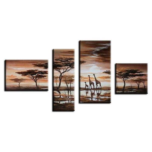 4 Leinwandbilder AFRIKA Giraffe (3) 120 x 70cm Handgemalt - 1