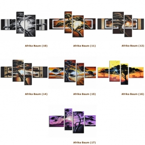 4 Leinwandbilder AFRIKA Baum (4) 120 x 70cm Handgemalt - 4