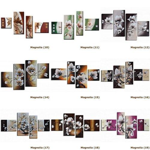 4 Leinwandbilder MAGNOLIA (13) 120 x 70cm Handgemalt - 4