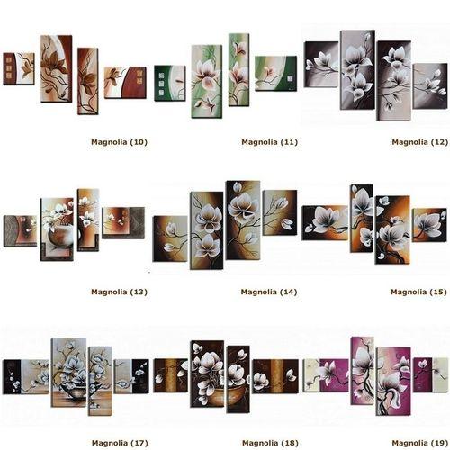 4 Leinwandbilder MAGNOLIA (16) 120 x 70cm Handgemalt - 4