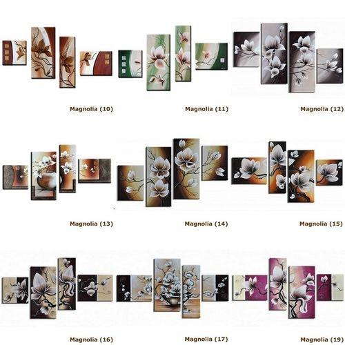 4 Leinwandbilder MAGNOLIA (18) 120 x 70cm Handgemalt - 4