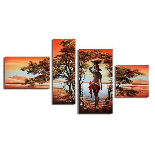 4 Leinwandbilder AFRIKA Frau (1) 120 x 70cm Handgemalt - 1