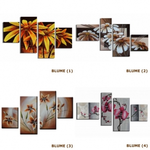 4 Leinwandbilder BLUMEN (4) 120 x 70cm Handgemalt - 3