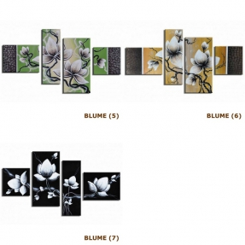 4 Leinwandbilder BLUMEN (4) 120 x 70cm Handgemalt - 4