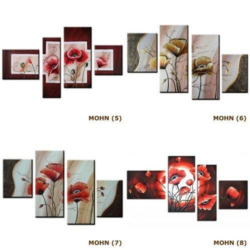 4 Leinwandbilder MOHN (4) 120 x 70cm Handgemalt - 4