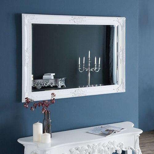 Romantischer Wandspiegel VERONIQUE Weiß Antik in Renaissance-Design 105cm x 75cm | Vertikal oder horizontal aufhängbar! - 1