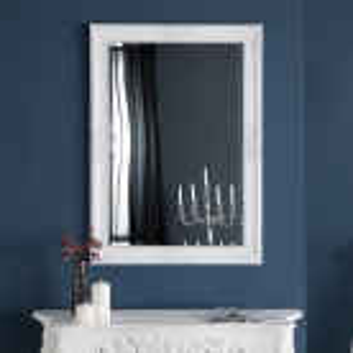 Romantischer Wandspiegel VERONIQUE Weiß Antik in Renaissance-Design 105cm x 75cm | Vertikal oder horizontal aufhängbar! - 2