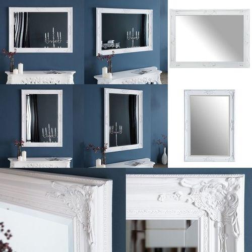 Romantischer Wandspiegel VERONIQUE Weiß Antik in Renaissance-Design 105cm x 75cm | Vertikal oder horizontal aufhängbar! - 3