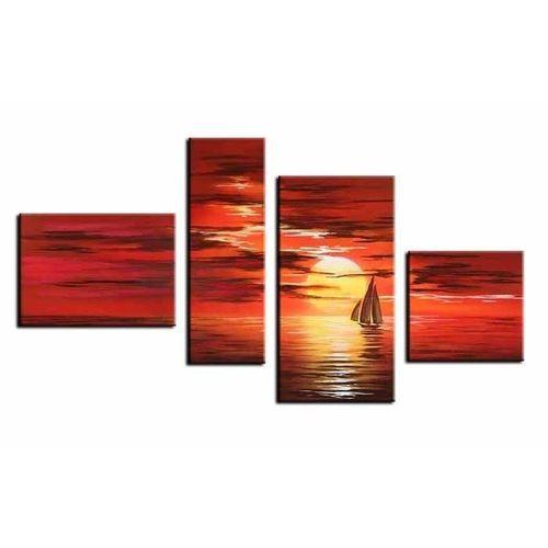 4 Leinwandbilder SONNENUNTERGANG (1) 120 x 70cm Handgemalt - 1