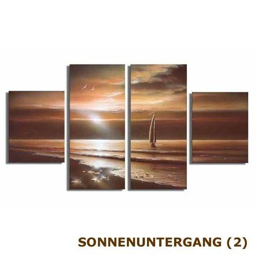 4 Leinwandbilder SONNENUNTERGANG (2) 120 x 70cm Handgemalt - 3