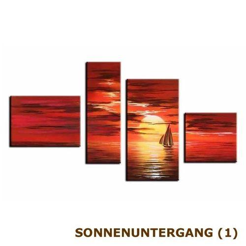 4 Leinwandbilder SONNENUNTERGANG (2) 120 x 70cm Handgemalt - 4