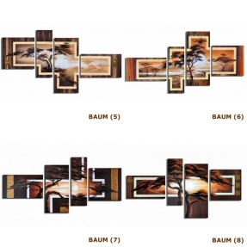 4 Leinwandbilder AFRIKA Baum (4) 140 x 80cm Handgemalt - 4