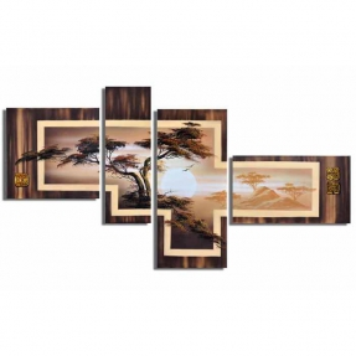 4 Leinwandbilder AFRIKA Baum (5) 140 x 80cm Handgemalt - 1