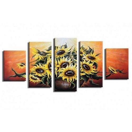 5 Leinwandbilder SONNENBLUME (2) 150 x 70cm Handgemalt - 1