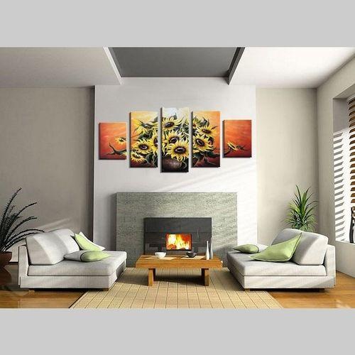 5 Leinwandbilder SONNENBLUME (2) 150 x 70cm Handgemalt - 2