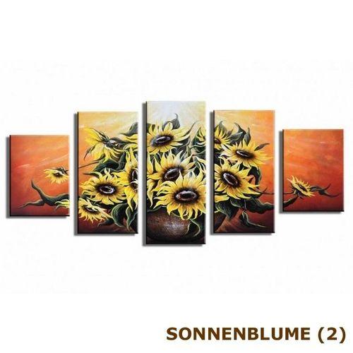 5 Leinwandbilder SONNENBLUME (2) 150 x 70cm Handgemalt - 3