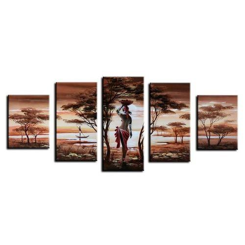 5 Leinwandbilder AFRIKA Frau (3) 150 x 70cm Handgemalt - 1