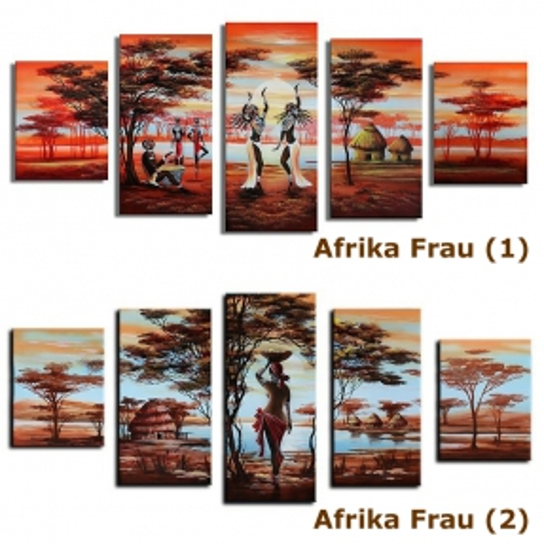 5 Leinwandbilder AFRIKA Frau (3) 150 x 70cm Handgemalt - 3