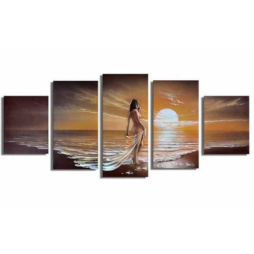 5 Leinwandbilder FRAU am Strand (1) 150 x 70cm Handgemalt - 1