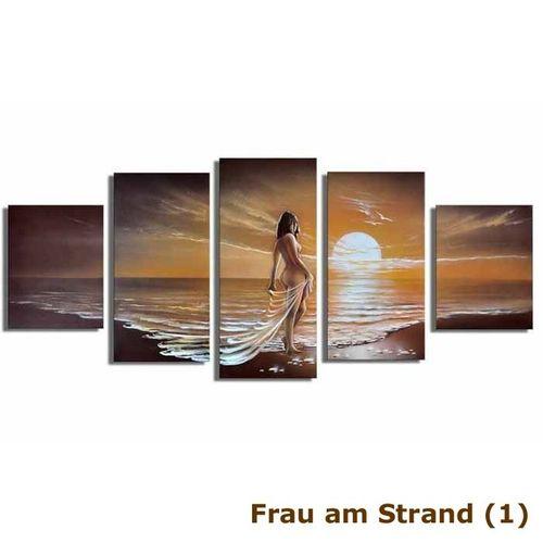 5 Leinwandbilder FRAU am Strand (1) 150 x 70cm Handgemalt - 3