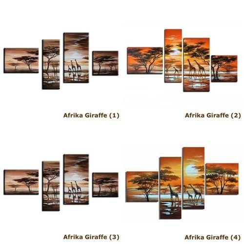 5 Leinwandbilder AFRIKA Giraffe (6) 150 x 70cm Handgemalt - 3