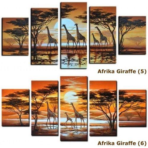 5 Leinwandbilder AFRIKA Giraffe (6) 150 x 70cm Handgemalt - 4