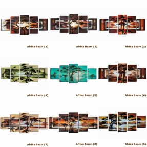 5 Leinwandbilder AFRIKA Baum (3) 150 x 70cm Handgemalt - 3