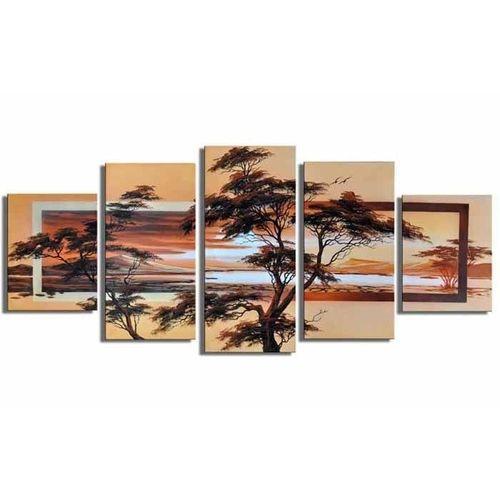 5 Leinwandbilder AFRIKA Baum (7) 150 x 70cm Handgemalt - 1