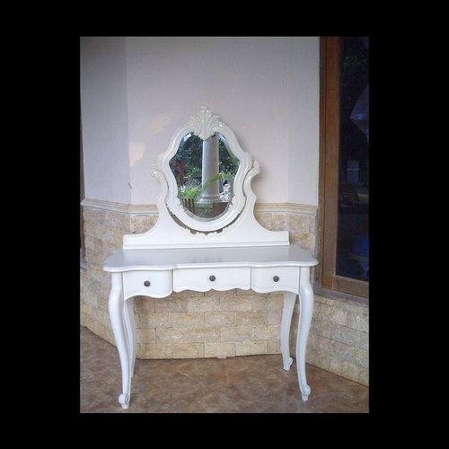 Mahagoni Frisiertisch ANTOINETTE Weiß inkl. Spiegel & Hocker 110cm - 1