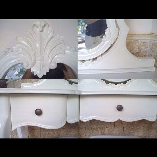 Mahagoni Frisiertisch ANTOINETTE Weiß inkl. Spiegel & Hocker 110cm - 4