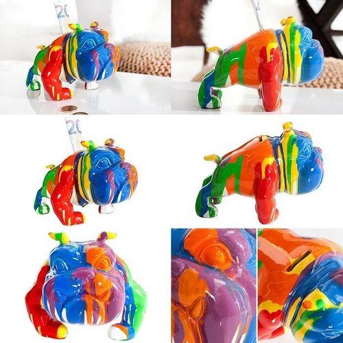 Deko Skulptur Spardose Bulldogge BUDDY Bunt aus Kunststein handbemalt 15cm x 20cm - 3