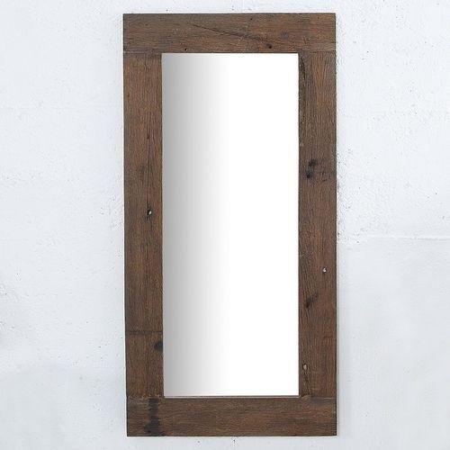 XL Wandspiegel JAVA Dunkelbraun aus recyceltem Teakholz massiv 162cm x 80cm - 2
