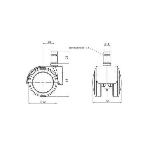 5 x Rollen SPEEDY 11mm x 50mm verchromt für Hartböden - 4
