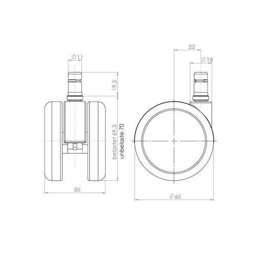 5 x Rollen SPEEDY 11mm x 65mm verchromt für Hartböden - 4