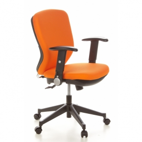 Bürostuhl STOCKHOLM Schwarz-Orange aus Stoff - 2