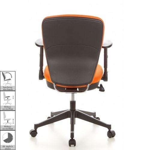 Bürostuhl STOCKHOLM Schwarz-Orange aus Stoff - 4