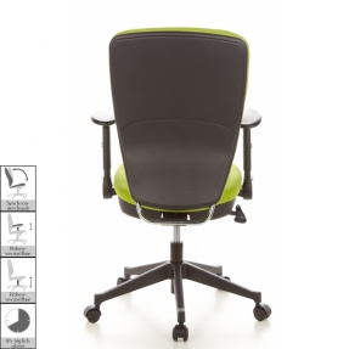 Bürostuhl HELSINKI Schwarz-Apfelgrün aus Stoff - 4