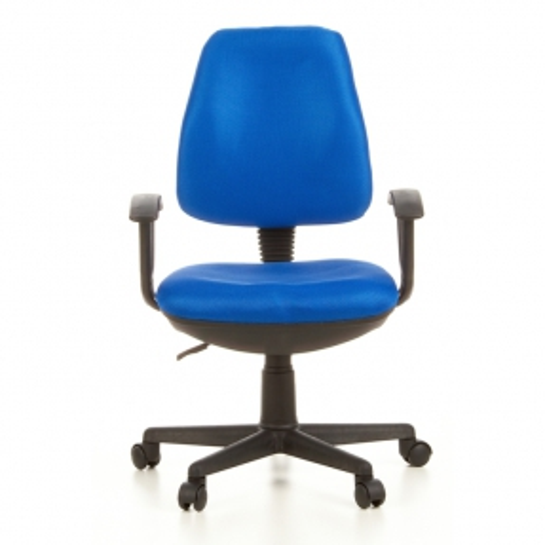 Bürostuhl RIGA Schwarz-Blau aus Netzstoff - 1