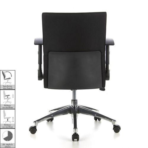 Bürostuhl PRAG Schwarz aus Stoff - 4