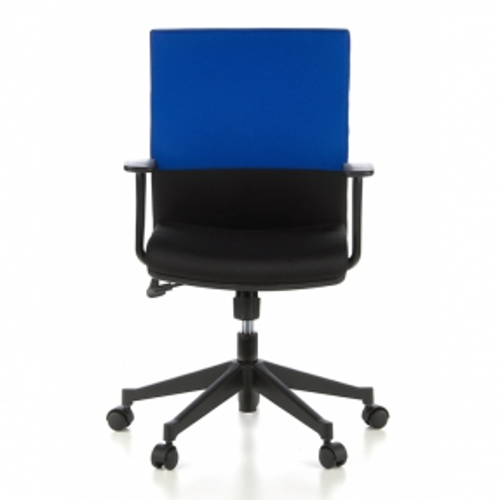 Bürostuhl ISTANBUL Schwarz-Blau aus Stoff - 1