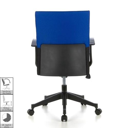 Bürostuhl ISTANBUL Schwarz-Blau aus Stoff - 4
