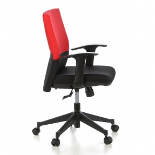 Bürostuhl ISTANBUL Schwarz-Rot aus Stoff - 3