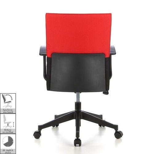 Bürostuhl ISTANBUL Schwarz-Rot aus Stoff - 4