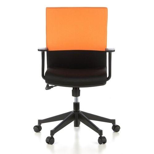 Bürostuhl ISTANBUL Schwarz-Orange aus Stoff - 1